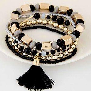 Layered Beaded Tassel Tribal Boho Bracelet Set